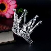 мини для женщин девушка горный хрусталь корона свадебный гребешок для волос в виде тиары пин для свадебная вечеринка-w128