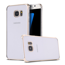 Luxury Crystal Clear Case Ultra Thin Gold Plating Frame Transparent Cover For Samsung Galaxy S7 Edge G9350 Free Shipping