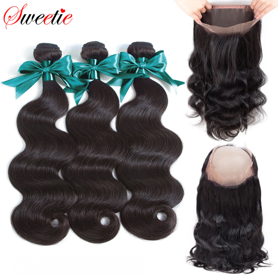 Sweetie Hair 360 Lace Frontal Closure With Bundles Malaysian Body Wave Human Hair Lace Closure With