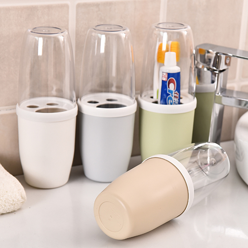 Portable plastic tooth paste holder with cup Bathroom Suite Organization Storage Box travel case toothbrush