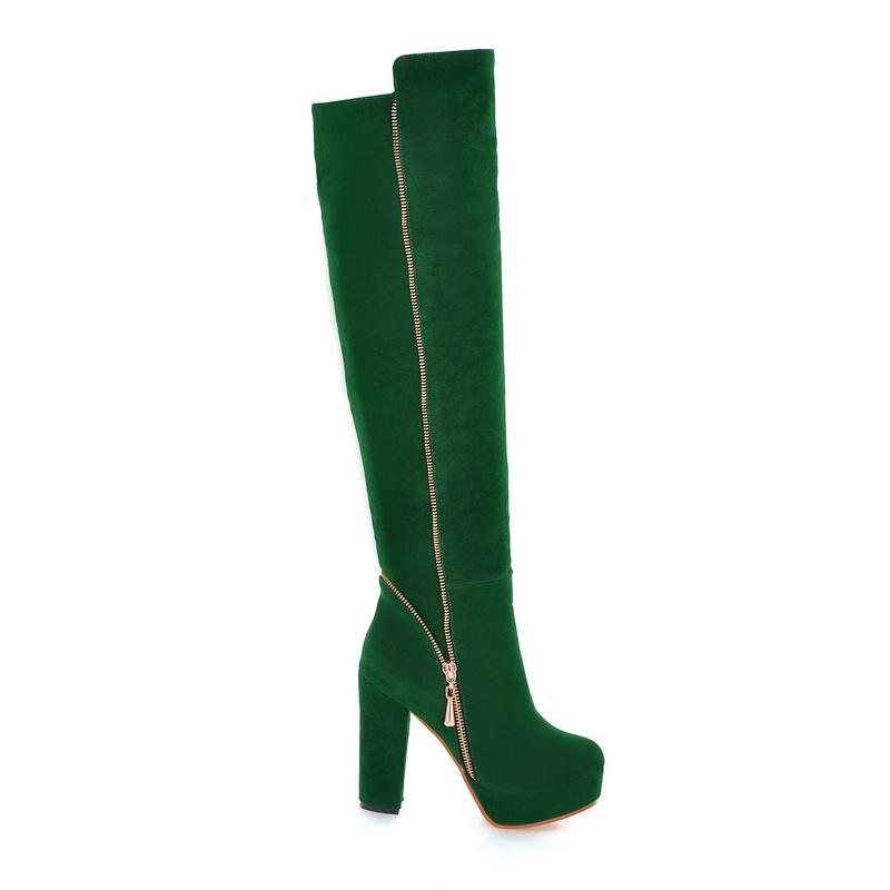 US $39.32 41% OFF|Sales Hot Elegant Black Army Green Women Over Knee Thigh High Snow Boots Ladies Shoes AI116 High Heels Plus Big size 10 43 in