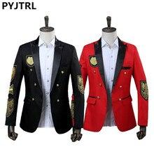 PYJTRL גברים בלייזר צבאי מדליית Loose מעיל הזמרת שלב מעיל שנתי ביצועים שחור אדום תלבושות Homme