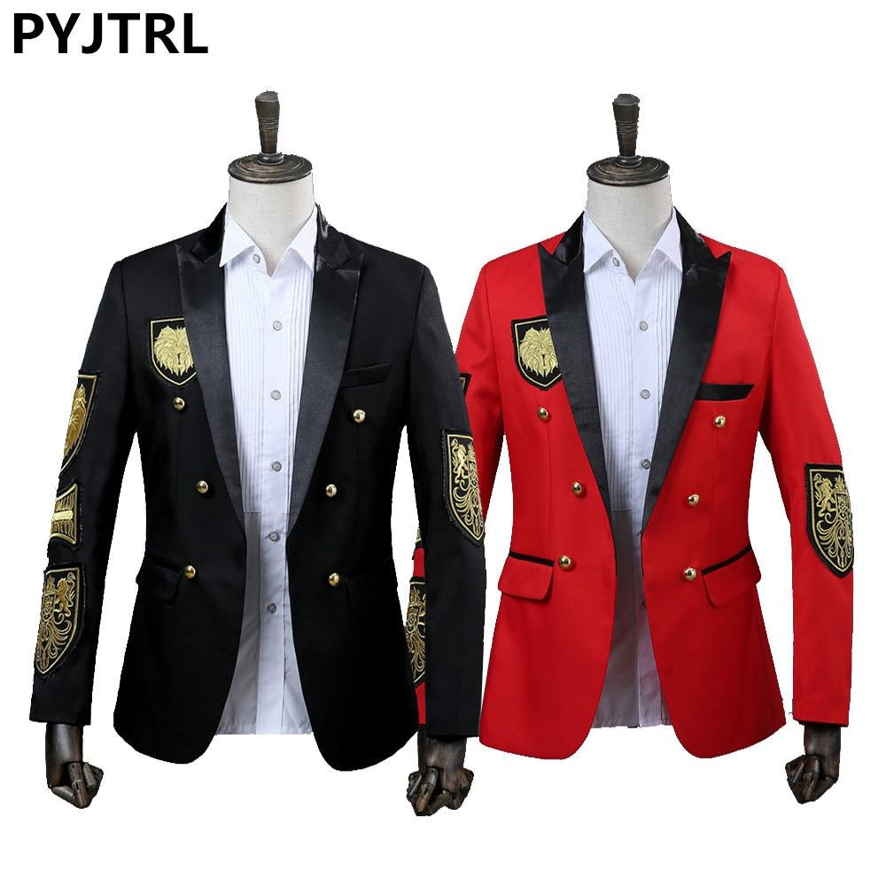 PYJTRL Men Blazer Military Medal Loose Coat Stage Singer Suit Jacket Annual Performance Black Red Costume Homme