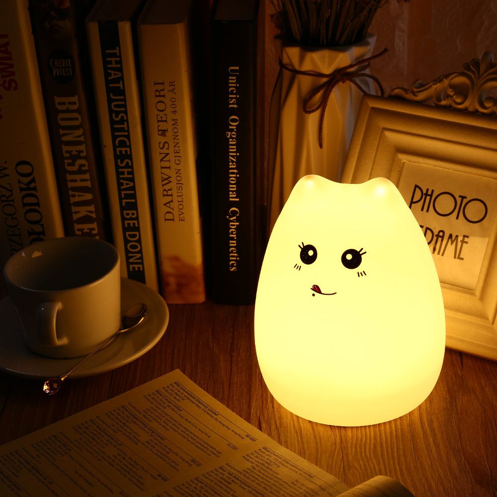 2017 Cute Cat Lamp Colorful Light Silicone Cat Night Lights 2 ...