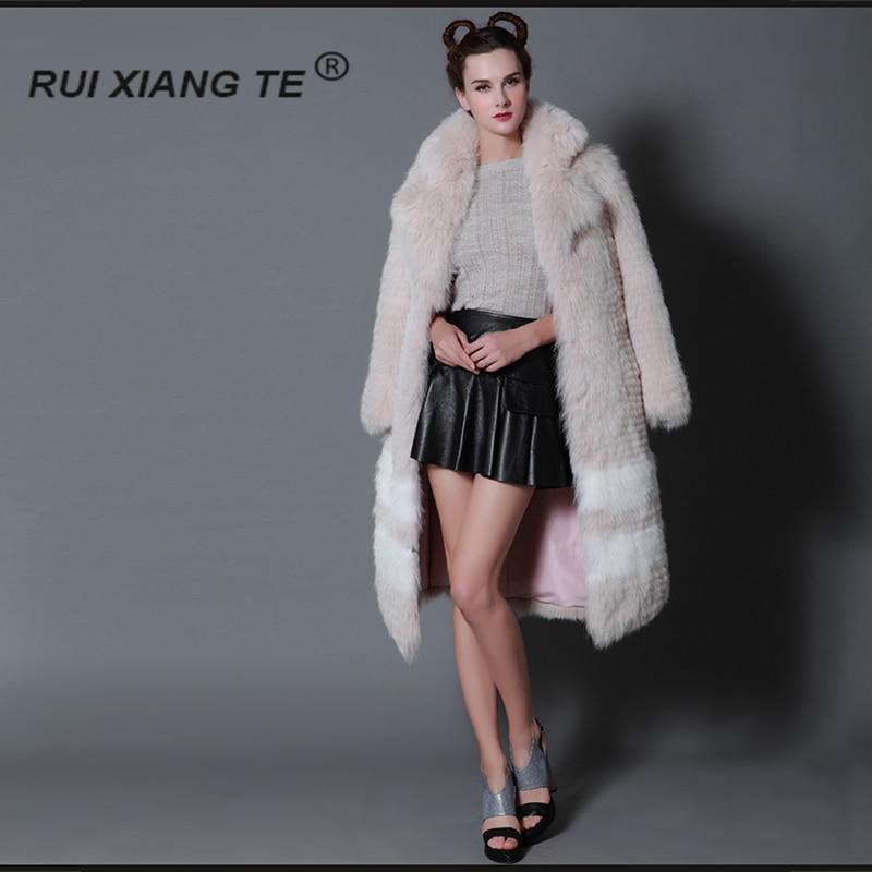 GRATIS VERZENDING RuiXiangTe vrouwen natuurlijke echte vos bontjas - Dameskleding