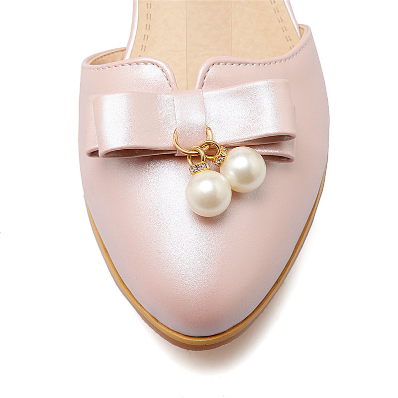 BONJOMARISA 2018 Summer Sweet Concise Women Sandals Big Size 33-43 Fashion Beading Bow Shoes Woman Low Chunky Heels Women Shoes