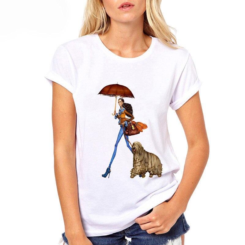 Women T Shirt Fashion girls shopping with a dog Print Summer T Shirt All Match short sleeve t-shirts for girl