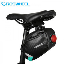 ROSWHEEL Bicycle Saddle Bag Waterproof MTB Bike Rear Bags Led Light Cycling Rear Seat Tail Bag Bike Accessories