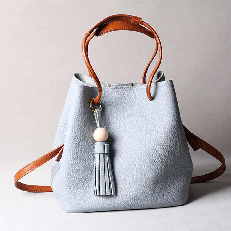 Tassel Designer Bucket Bag Genuine Leather Women Handbag Bag Female Brand Shoulder Messenger Bags Lady Drawstring Crossbody Bags 2016 women fashion brand leather bag female drawstring bucket shoulder crossbody handbag lady messenger bags clutch dollar price