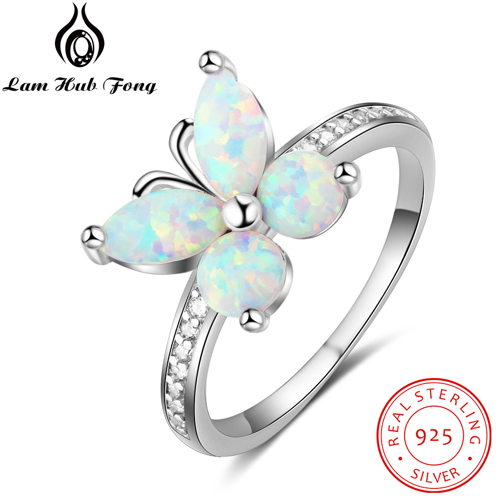 100% 925 Sterling Silver Ring Opal Stone With White Butterfly Shape Opal For Women Valentine's Day Romantic Gift(Lam Hub Fong)