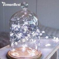 LemonBest LED Star Copper Wire String Lights LED Fairy Lights Christmas Wedding Decoration Lights Battery Operate