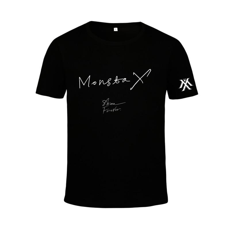 KPOP Korean Fashion MONSTA X Album SHINE FOREVER Cotton Tshirt K-POP T Shirts T-shirts PT500