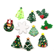 10Pcs Mixed Resin Christmas Trees Series Cabochon Flatback Decoration Crafts Embellishments For Scrapbooking Diy Accessories
