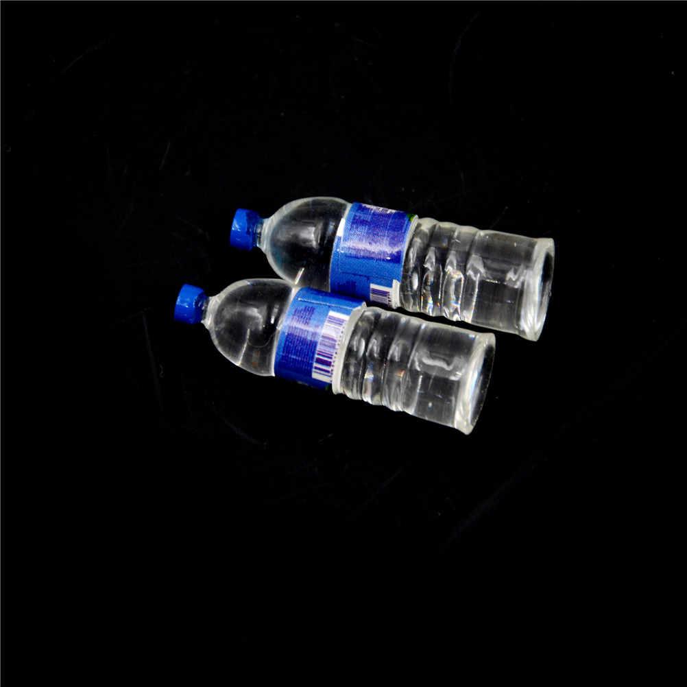 2 sztuk Mini butelki na wodę mineralną domek dla lalek zabawka miniaturka lalka jedzenie kuchnia akcesoria do salonu prezent dla dzieci udawaj zabawki