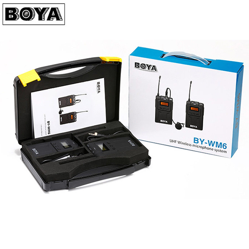 BOYA BY-WM6 Professional UHF Omni-Directional Wireless Lavalier Microphone System for DSLR Camera Canon 6D 5D2 5D3 Nikon Sony boya by wm5 dslr camera wireless lavalier microphone recorder system for canon 6d 600d 5d2 5d3 nikon d800 sony dv camcorder