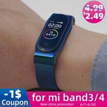 Mi Band 4 ремешок металлический mi lanese из нержавеющей стали для Xiaomi mi 4 ремешка совместимые браслеты Pulseira mi band3 Correa