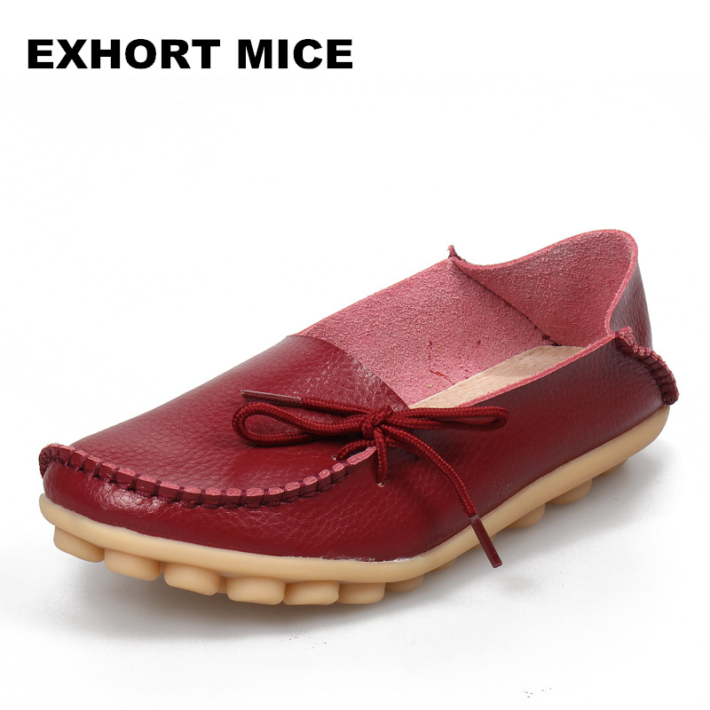 2018 Large size leather Women shoes flats mother shoes ladies lace-up fashion casual shoes comfortable breathable women flats