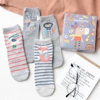 4 Pairs Grey Cotton Socks For Women Autumn Winter 2017 Striped Thick Sock Cartoon Cute Animals