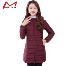2017 Women's Winter Down Jackets Middle Aged Female Long Parka Mother Thin Autumn Winter Coats Cotton Padded Plus Size 6XL YL988