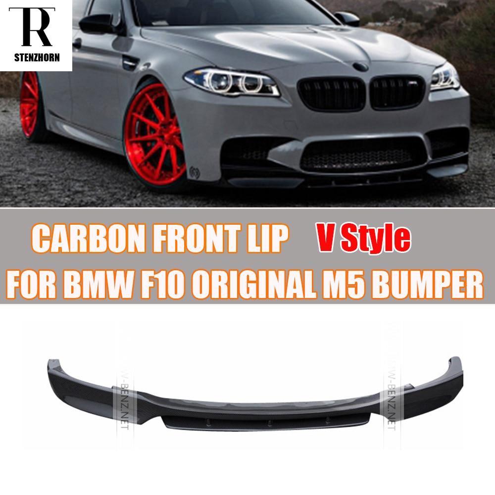 M5 carbon fiber v style front bumper lip chin spoiler for bmw bmw f10 m5 2010