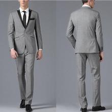 Custom Made Side Vent Groom Wear Tuxedos Peak Lapel Men's Suit Light Gray Groomsman/Best Man Wedding Suits (Jacket+Pants+tie)