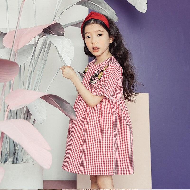 2018 New Kids Dresses For Girls Summer Beach Red Embroidered Plaid Dress Girls Bohemian Dress Vestido De Festa Robe Fille Sale milancel 2018 new summer dresses