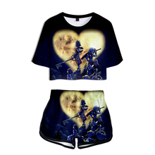 LUCKYFRIDAYF Crop Top kingdom hearts 3D Pop Summer Soft Shorts And T-shirts Women Two Piece Sets Cool Print Clothes