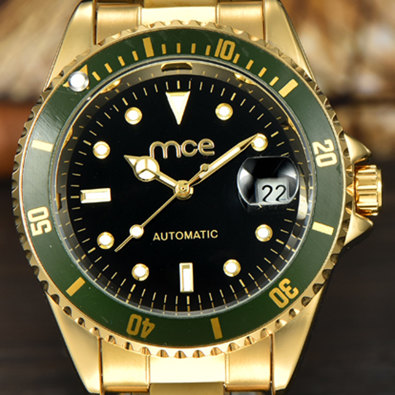 2018 new MCE brand Automatic Mechanical Watches for men expensive gold stainless steel Watch fashion calendar clock 032 carnival classic dress men automatic mechanical watches full steel waterproof gold watch calendar fashion men clock montre homme
