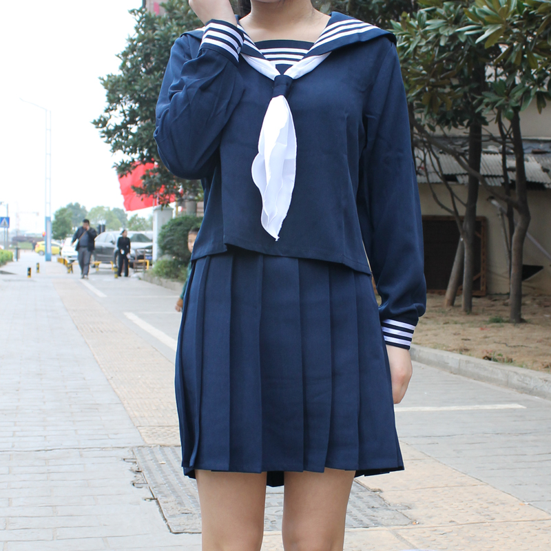 Japanese Classical Dark Blue long-sleeved sailor uniforms white collar towel Japan High School JK uniform <font><b>cosplay</b></font> <font><b>Sexy</b></font> <font><b>Cute</b></font> Girl image