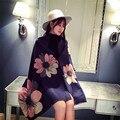 Moda de invierno de lana bufanda floral mujeres Gruesas bufandas de invierno nuevo diseño de tejido bufanda de pareja