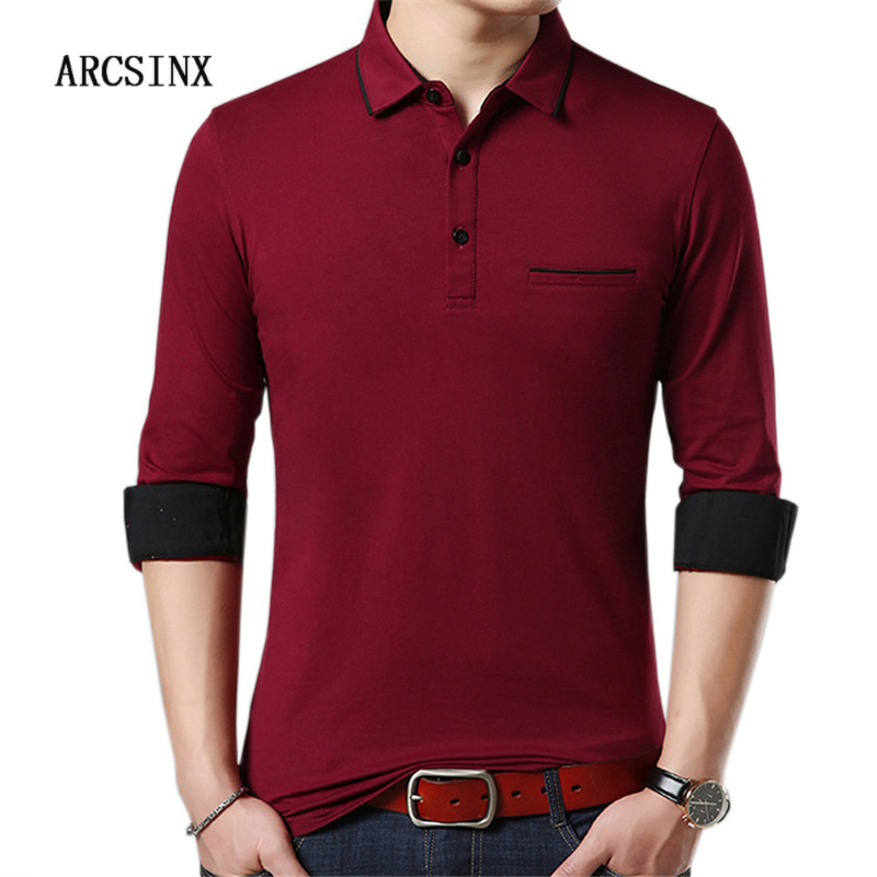 ARCSINX Red   Polo   Shirt Men Long Sleeve Turn-down Collar Mens   Polo   Shirts Autumn Solid Color Tee Shirt Men's   Polo   Shirts Cotton