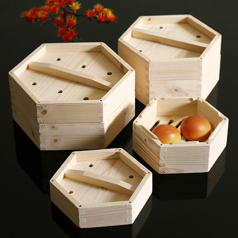 Steamed Wooden Drawer Steamer Commercial Restaurant Chinese Guangdong Style Six Angle Cage Port Snack Stuffed Buns Box Lid Cover