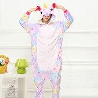 Star Unicorn Kigurumi Onesie Adult Women Animal Pajamas Girl Warm Soft Licorne Sleepwear Winter Jumpsuit Pijama