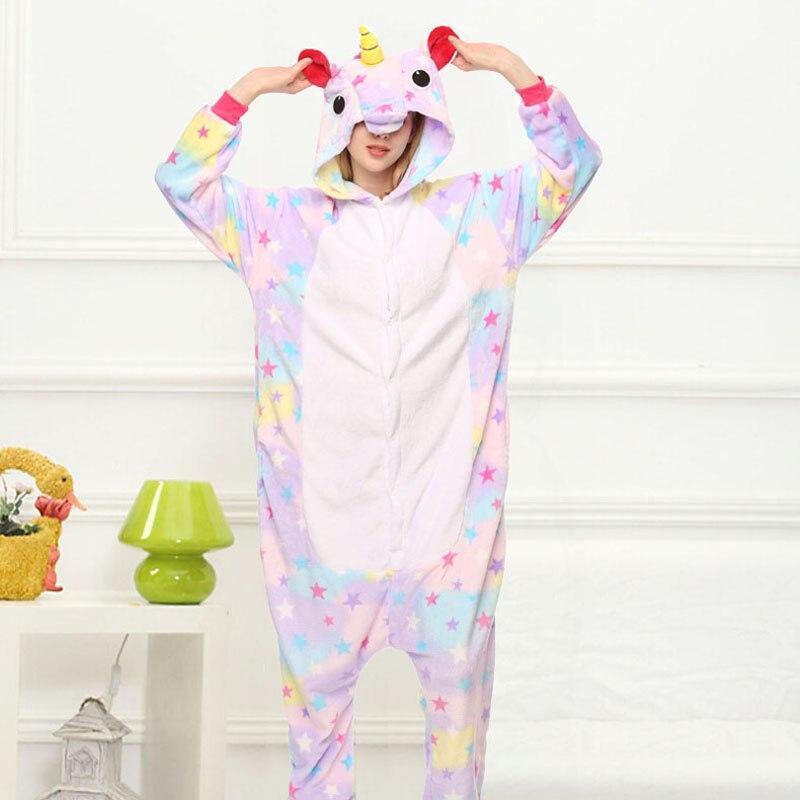 Star Unicorn Kigurumi Onesie Adult Women Animal Pajamas Girl Warm Soft Licorne Sleepwear Winter Jumpsuit Pijama Cosplay