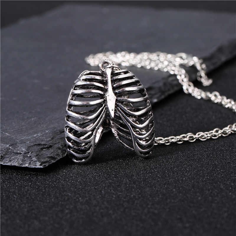 Уникальный античный серебряный ribcage кулон ожерелье трендовый анатомический человеческий ребро клетка Брелок со скелетом ювелирные изделия dendy брелок подарки