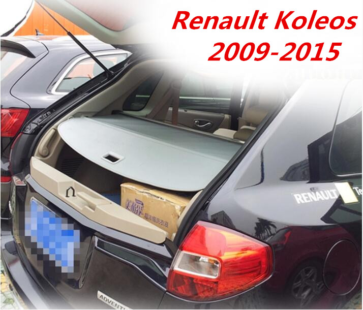 JIOYNG Car Rear Trunk Security Shield Shade Cargo Cover For Renault Koleos 2009 2010 2011 2012 2013 2014 2015 (Black, beige) rear bumper sill plate guards cover for renault koleos 2008 2009 2010 2011 2012