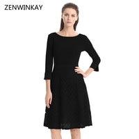 2017 Dress Autumn Women Solid A Line High Waist Lace Midi Vestido Woman O Neck 4/3 Sleeve Elegant Female Party Dresses