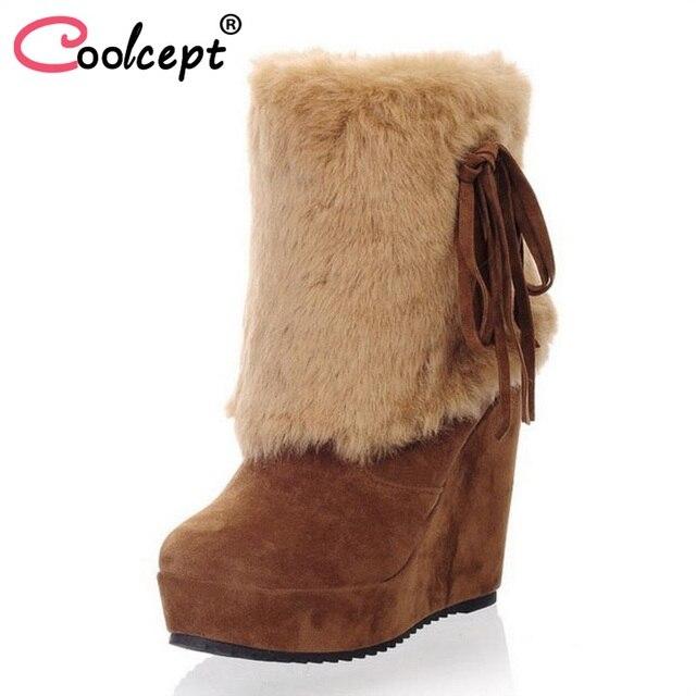 Coolcept Women High Wedges Boots Bowtie Plush Fur Platform Winter Mid Calf Boots Warm Fashion Sexy Women's Shoes Size 33-39