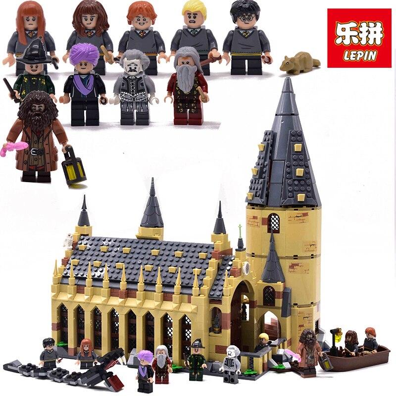 Лепин 16052 Хогвартс большой зал Харри мини Поттер цифры Хогвартс замок строительные блоки кирпичи legoing игрушки для детей 75954