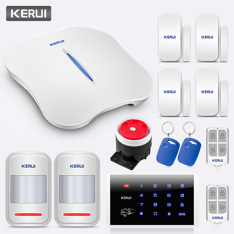 KERUI W1 Home Security Wireless WiFi PSTN Linkage Anti-theft Alarm System With K16 Password FRID Card Burglar Alarm System Kit