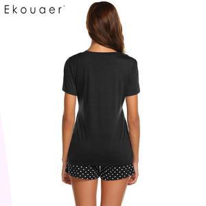 Image 5 - Ekouaer Frauen Nachtwäsche Pyjamas Sets Oansatz Kurzarm Tops Dot Tasche Shorts Pyjamas Set Damen Casual Hause Nachtwäsche