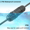 2 Pin IP68 Waterproof Connector I type Cable Connector Industrial Power Cable Wire Connector free shipping