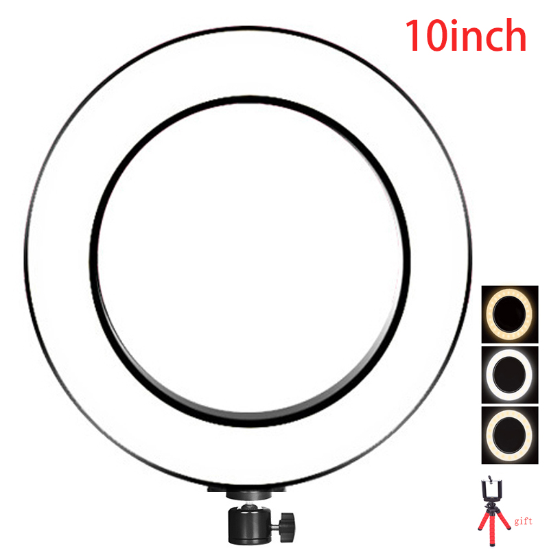 16cm 26cm ring led lighting Photography LED Selfie Ring Light 3 steps of colors white and yellow color LED mini Tripod for Photo