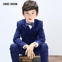 5pcs Boys Suits Spring Autumn Plaid Cotton Blazer Vest Pant Clothes Suit Kids 3 16 Year