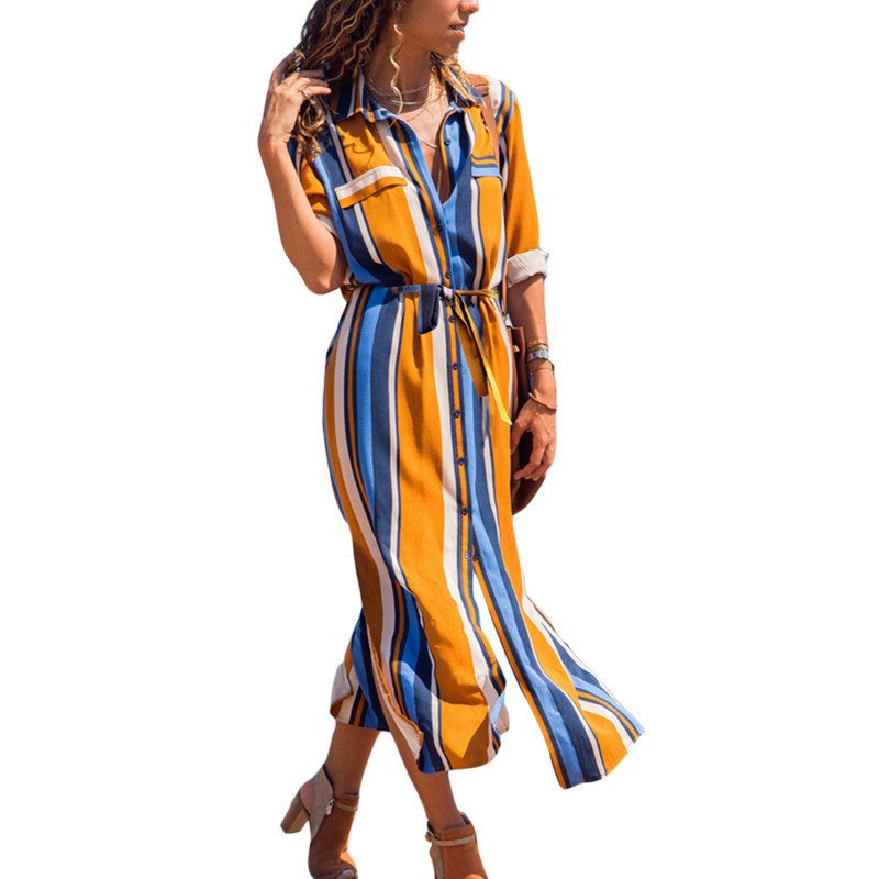 2019 Turn Down Collar Office Ladies Stripe Shirt Dress Long Chiffon Beach Dress Casual Long Sleeve Elegant Party Dress Vestidos