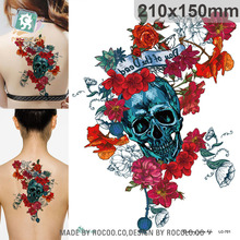 Body Art Waterproof Temporary Tattoos For Men Women 3D Punk Rose Flower Skull Design Large Tattoo Sticker LC2701