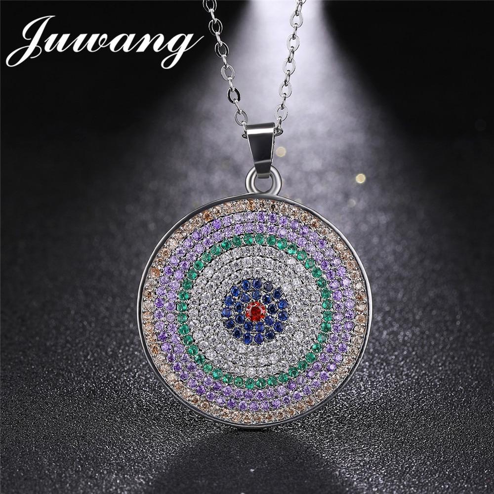 JUWANG Brand Greek Turkish Evil Eye for Women Colorful Zircon Round  Luxury Pendant Necklace For Christmas Gift Fashion Jewelry