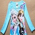 Baby Girls Frozen T Shirt Girl Cotton Autumn Spring Long-sleeved T-shirt Girl's Cute Cartoon Tee Children Fashion Tops 25E