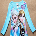 Meninas do bebê Congelado T Shirt Da Menina do Algodão Primavera Outono Longo-sleeved T-shirt Bonito da Menina Dos Desenhos Animados T Crianças Moda Tops 25E