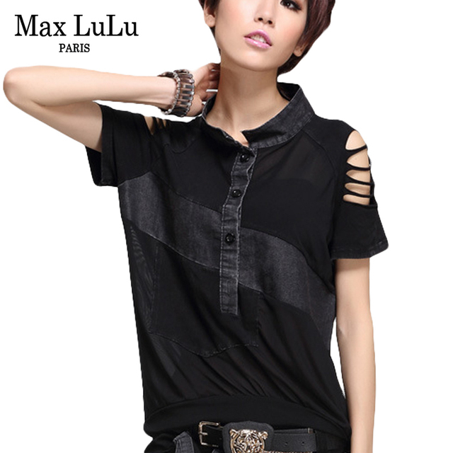 Max LuLu Luxury European Harry Styles Girls Sexy Crop Tops Tees Women Denim T Shirts Mesh Jeans Camiseta Mujer Woman Lace Tshirt